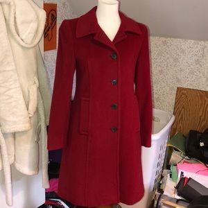Anne Klein wool cashmere red coat  2 petite